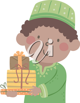 Illustration of a Kid Boy Wearing Kwanzaa African Clothes Carrying a Stack of Gifts