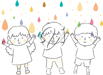 Illustration of Kids with Hands Up Catching Colorful Water Droplets