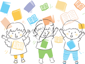 Illustration of Kids with Hands Up and Books Shower