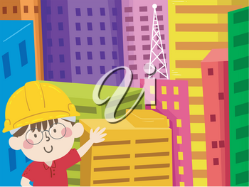 Illustration of a Kid Boy Engineer Wearing Yellow Hard Hat and Showing Different Buildings Behind