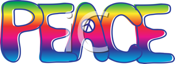 Royalty Free Clipart Image of the Word Peace With the Symbol in the A