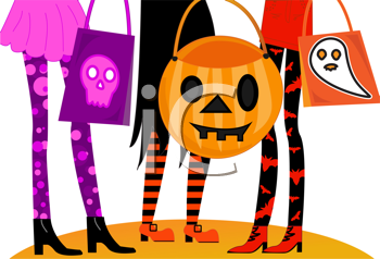 Royalty Free Clipart Image of the Legs of Trick or Treaters