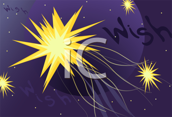 Royalty Free Clipart Image of a Shooting Star and the Word Wish