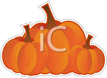 Royalty Free Clipart Image of a Group of Pumpkins