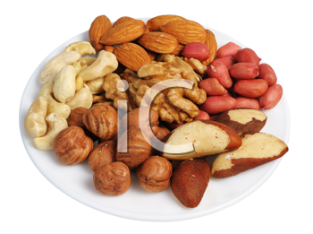 Peanuts, cashews, almonds, walnuts, Brazil nuts and hazelnuts on a white background, isolated