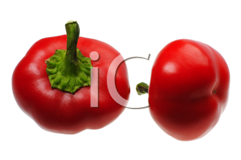 Two small round red peppers on a white background, isolated.