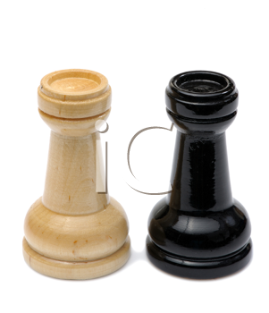 Wooden chess pieces light and dark colors