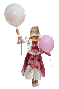 Girl in a smart dress holding a balloons.