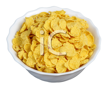 cornflakes in a white plate on a black background, isolated