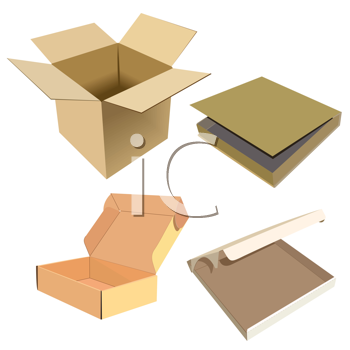 Royalty Free Clipart Image of a Set of Boxes