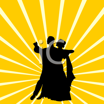 Royalty Free Clipart Image of a Couple Dancing a Waltz