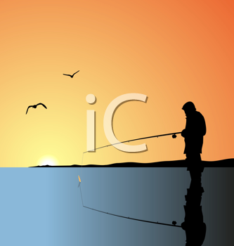 Royalty Free Clipart Image of a Fisherman