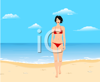 Royalty Free Clipart Image of a Girl on the Beach