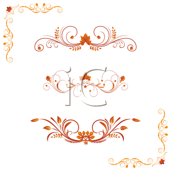 Royalty Free Clipart Image of Decorative Autumn Borders