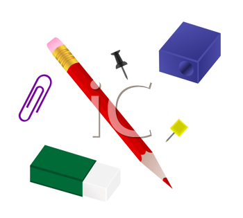 Royalty Free Clipart Image of a Set of Office Supplies