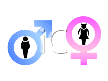 Royalty Free Clipart Image of Male and Female Gender Signs