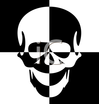 Royalty Free Clipart Image of a Black and White Skull