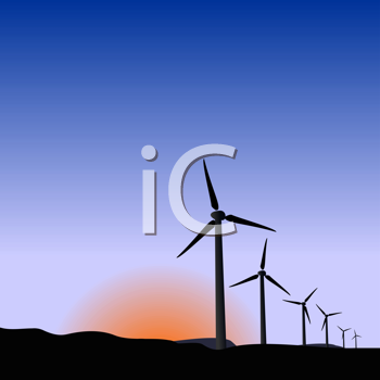 Royalty Free Clipart Image of Wind Generators at Sunrise