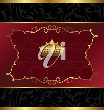 Illustration ornate decorative background with crown - vector