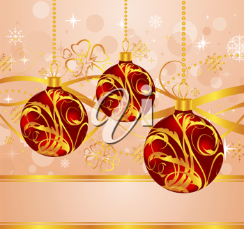 Illustration abstract background with Christmas balls - vector