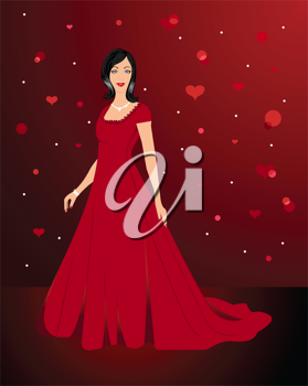 Illustration beautiful sexy woman in red dress - vector