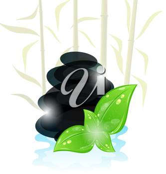 Illustration meditative oriental background with cairn stones and eco green leaves - vector