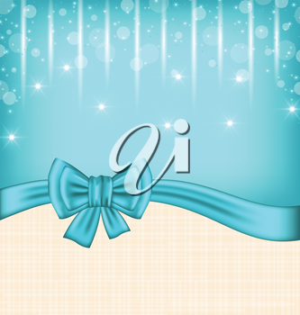 Illustration glow celebration card with gift bow - vector