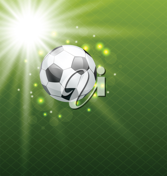 Illustration football shine background with ball - vector