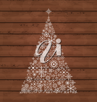 Illustration Christmas pine made of snowflakes on wooden background - vector