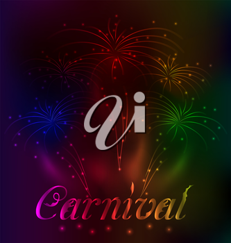Illustration colorful fireworks background for Carnival party - vector