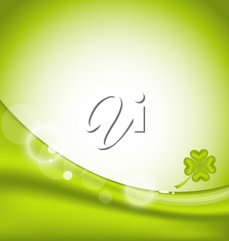 Illustration abstract background with four-leaf clover for St. Patrick's Day - vector