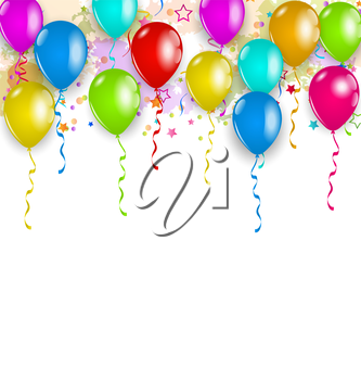 Illustration set party balloons, confetti with space for text - vector