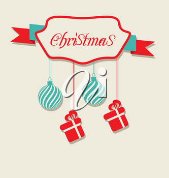 Illustration Christmas celebration card with hanging balls and gifts - vector