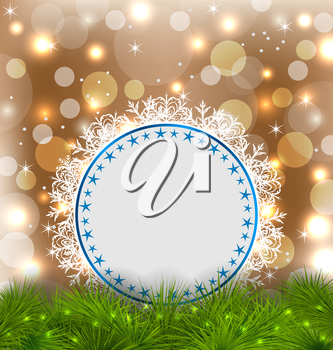 Illustration Xmas elegant card on glowing background - vector