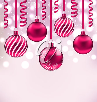 Illustration Christmas shimmering background with balls and streamer - vector