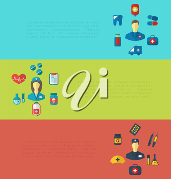 Illustration set cards with medical elements, trendy flat icons - vector