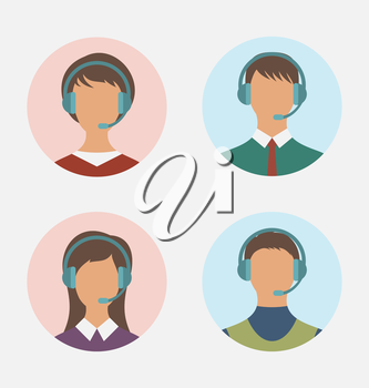 Illustration icons of call center operator  with  man and woman are featureless wearing headsets, in round web buttons - vector