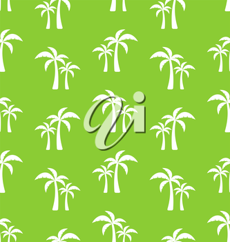 Seamless Pattern with Tropical Palm Trees. Summer Wallpaper - Vector