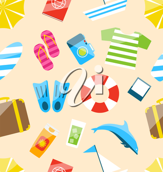 Illustration Beach Seamless Wallpaper with Tourism Objects and Equipments, Colorful Simple Icons - Vector