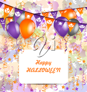 Illustration Halloween Decoration (Bunting Pennants, Balloons) with Celebration Card - Vector