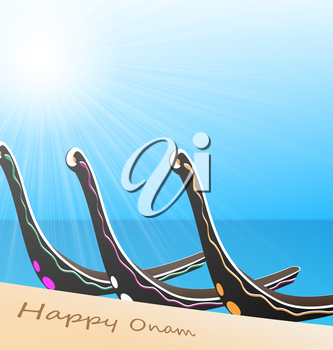 Illustration of Snake Boat at River for South Indian Festival Happy Onam Celebration Background  - vector