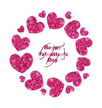Illustration Round Frame Made in Glitter Hearts for Valentines Day - Vector