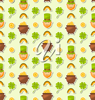 Illustration Seamless Holiday Background with Cartoon Colorful Elements and Objects for Saint Patrick's Day - Vector