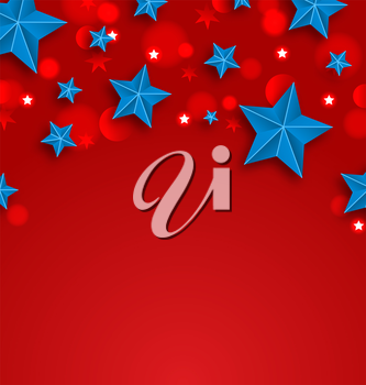 Illustration Stars Background for American Holidays, Place for Your Text - Vector