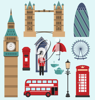 Illustration London,United Kingdom Flat Icons. Collection of England Colorful Symbols. Group of Travel Icons - Vector