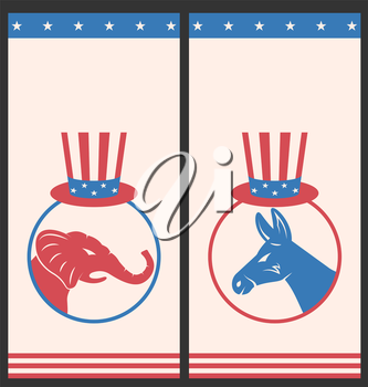 Illustration Banners for Advertise of United States Political Parties. Flyers with Donkey and Elephant. Vintage Style Design - Vector