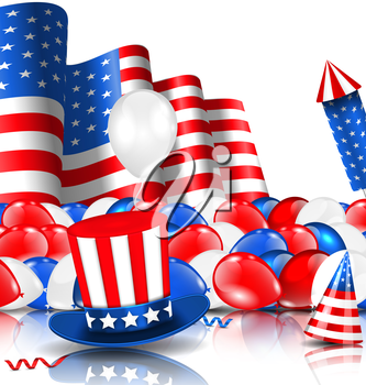 Illustration American Background with Balloons, Party Hats, Firework Rocket, Flag and Confetti - Vector