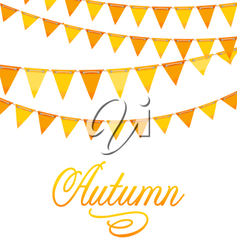 Illustration Autumnal Decoration with Orange and Yellow Bunting Flags and Text - Vector