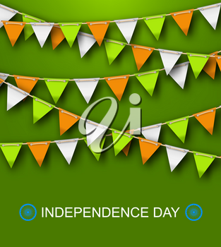 Greeting Background for Independence Day of India with Hanging Bunting - Illustration Vector