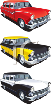 Royalty Free Clipart Image of a Set of Old Cars